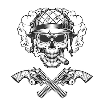 Vintage soldado monocromático crânio fumar charuto