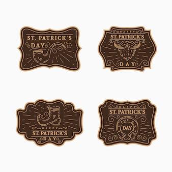 Vintage st. coleção de etiquetas do dia de patrick