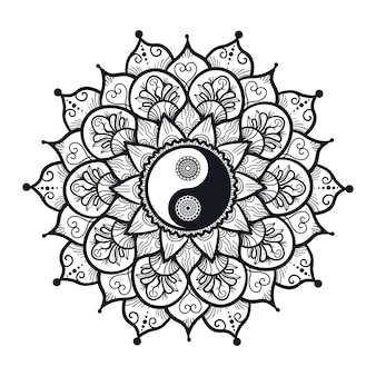 Vintage yin e yang em mandala