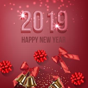 Vinte e dezenove design de cartão de ano novo