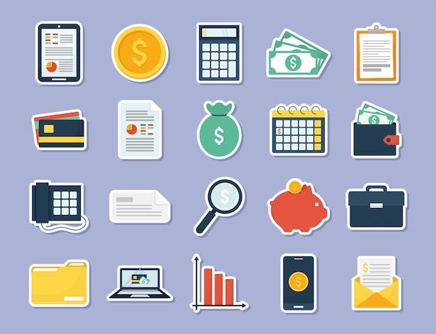 Vinte ícones de finanças pessoais