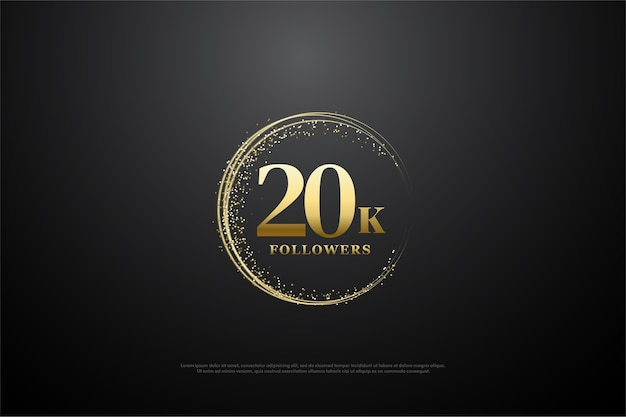 Vinte mil seguidores com dígitos de ouro no brilho dourado