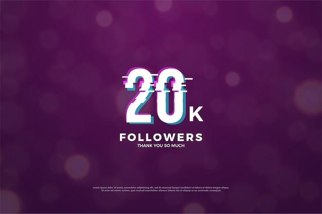 Vinte mil seguidores com figuras tridimensionais e efeito de desfoque