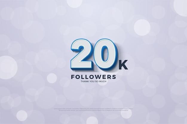 Vinte mil seguidores com numerais tridimensionais e filtros atraentes
