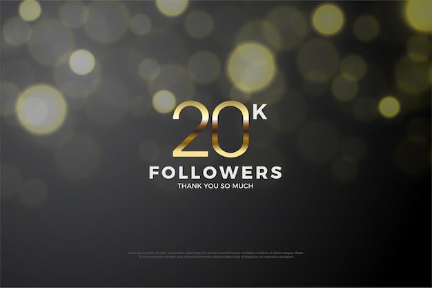 Vinte mil seguidores com números dourados e um fundo especial