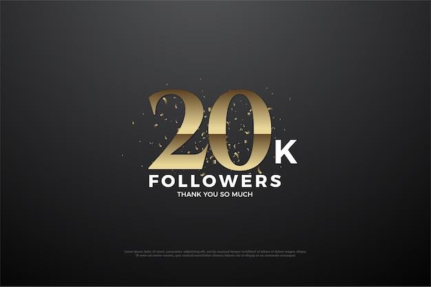 Vinte mil seguidores com números dourados em relevo em um fundo preto