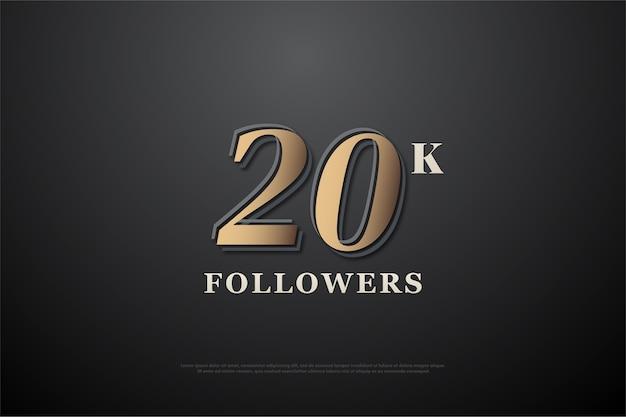 Vinte mil seguidores com números dourados tridimensionais em relevo contra um fundo escuro