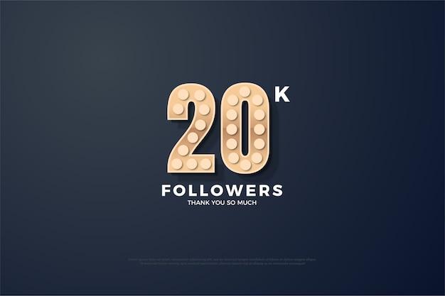Vinte mil seguidores com números em relevo e texturizados