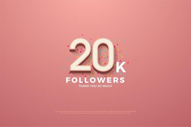 Vinte mil seguidores com números em relevo em branco em um fundo rosa