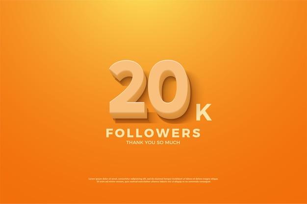 Vinte mil seguidores com números em relevo em um fundo laranja
