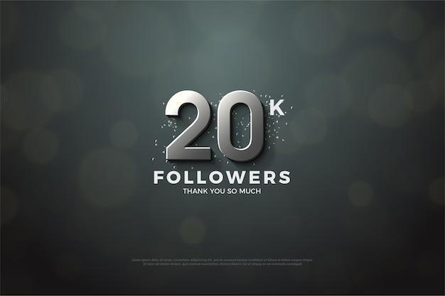 Vinte mil seguidores com números prateados em um fundo cinza