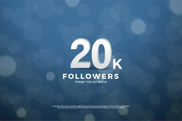 Vinte mil seguidores com números tridimensionais e efeito de desfoque e efeitos de fundo