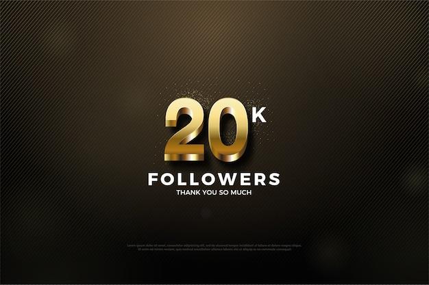 Vinte mil seguidores com um número dourado brilhante no topo do número Vetor Premium