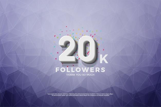 Vinte mil seguidores com uma figura tridimensional branca em relevo