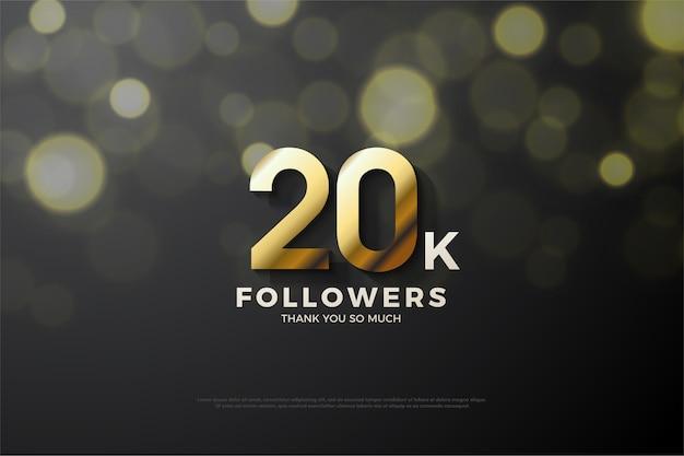Vinte mil seguidores com uma figura tridimensional dourada em um fundo preto com efeito de luz