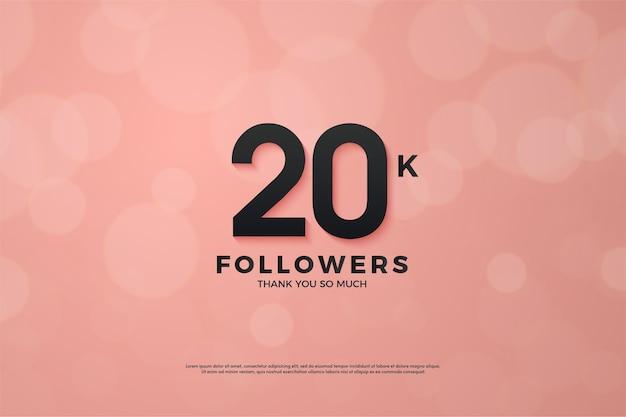 Vinte mil seguidores com uma figura tridimensional em um fundo rosa