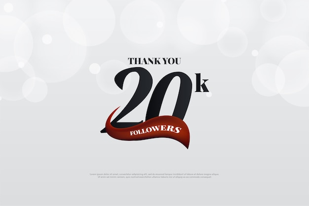 Vinte mil seguidores com uma figura tridimensional negra em um fundo branco brilhante