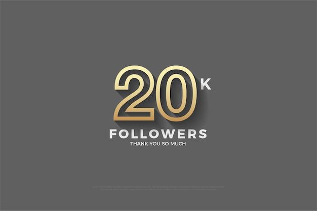 Vinte mil seguidores em uma figura tridimensional em um fundo rosa