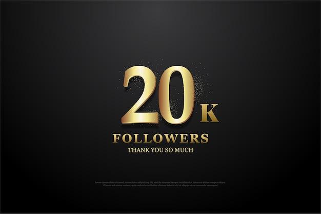 Vinte mil seguidores figura dourada em fundo preto