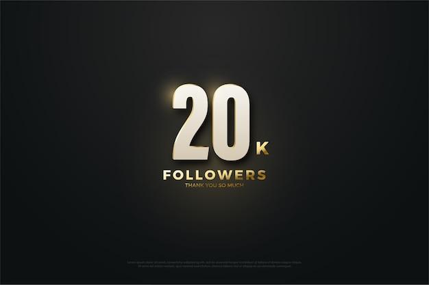 Vinte mil seguidores fundo preto