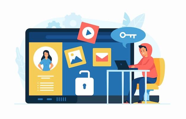 Violação de privacidade. ilustração plana do conceito de doxing. hacker de personagem de desenho animado coletando informações pessoais em rede social