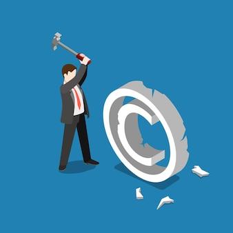 Violação de violação de direitos autorais, queda, falha, freio plano isométrico Vetor grátis