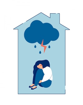Violência doméstica contra o conceito de mulheres. mulher abusada abraça seu corpo com dor.
