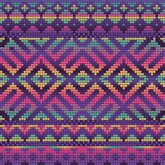 Violet gradient colors seamless pattern of christmas knitting