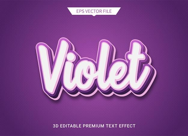 Violeta roxo 3d texto editável estilo efeito vetor premium