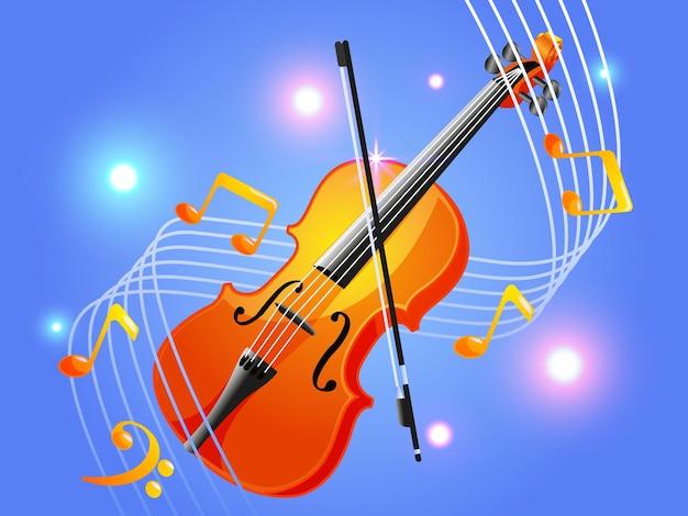 Violino com música elegante de notas musicais
