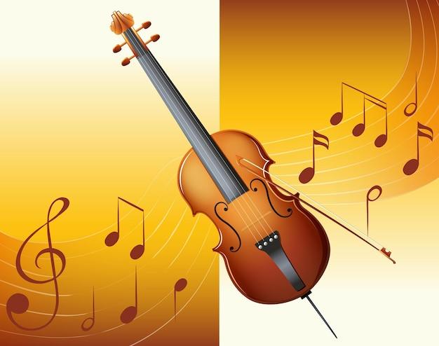 Violino com notas musicais de fundo