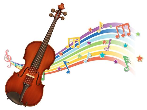 Violino com símbolos de melodia na onda do arco-íris