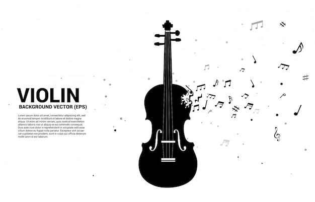 Violino de vetor com nota de melodia de música dançando o fluxo. modelo de texto