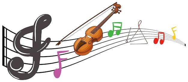 Violino e notas musicais em fundo branco