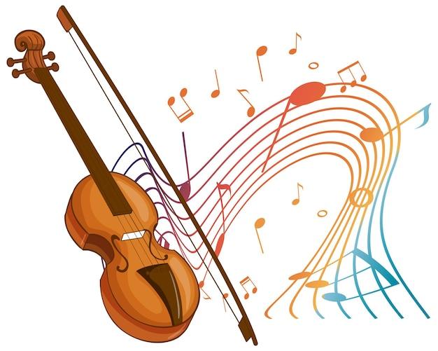 Violino instrumento de música clássica com símbolos de melodia