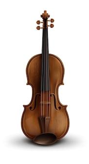Violino realista de madeira isolado no fundo branco