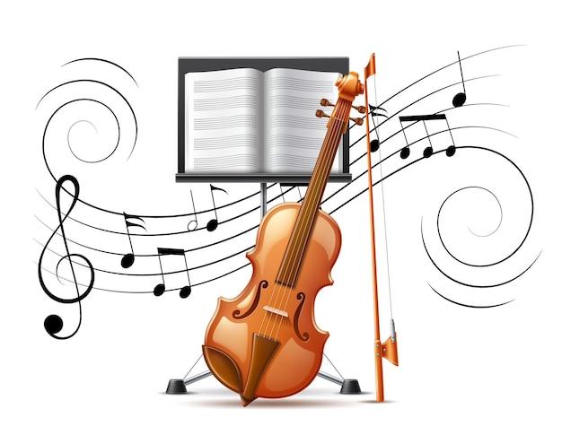 Violino realista e notação musical fluem clave de sol e estante de música vector Vetor Premium