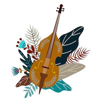 Violoncelo e folhas com flores. elemento decorativo doodle plana para design, vetor