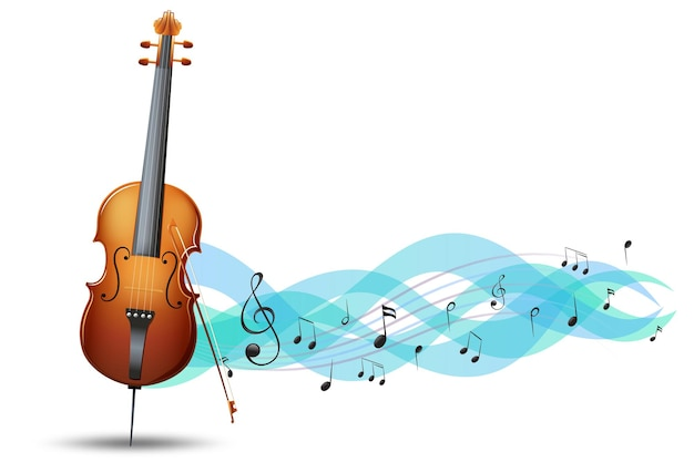 Violoncelo e notas musicais de fundo
