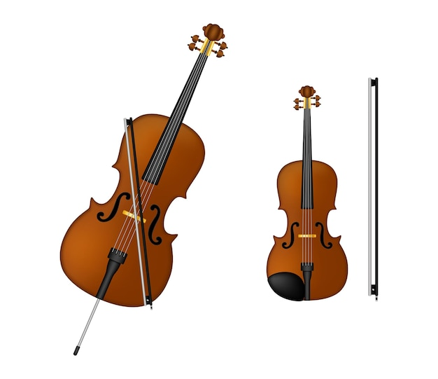 Violoncelo, violino, tecnologia antiga, design retro realista.