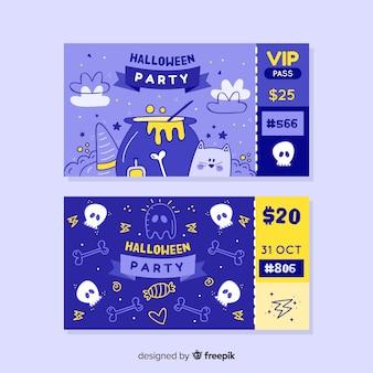 Vip e bilhetes padrão para a noite de halloween