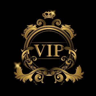 Vip logotipo dourado