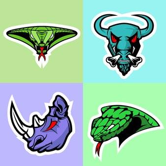 Viper, bull, rhino e cobra. conjunto de logotipos.