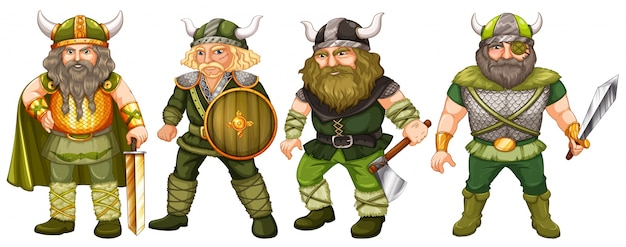 Viquingues em traje verde segurando armas