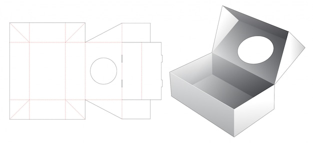 Virar a caixa de embalagem com modelo de janela cortada em círculo