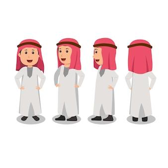 Vire a ilustração de design de personagens vire a ilustração de personagens árabes