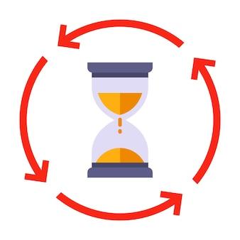 Vire o ícone de ampulheta. para controlar o tempo decorrido. ilustração vetorial plana