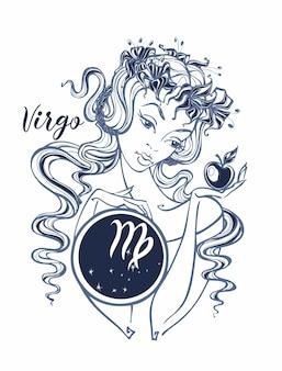 Virgem do sinal do zodíaco uma menina bonita.