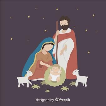 Virgem, olhar, natividade, fundo