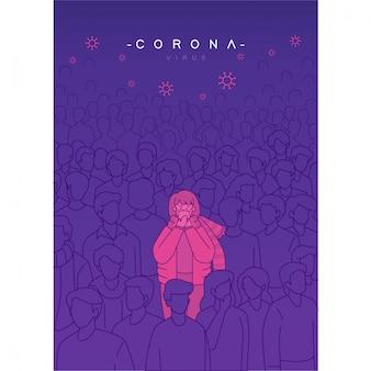 Vírus corona está em toda parte conceito de cartaz sem versão de máscara. pessoas infectadas misturadas com multidões de pessoas. pessoas vestindo máscara médica.